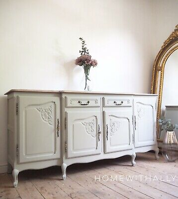 Large French Louis Xv Sideboard In Cream Grey Wooden Top