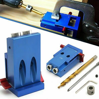Pocket Hole Jig Kit System Wood Working Joinery Carpentry Tool w/ Step Drill Bit
