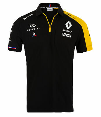 2019 Renault F1 Team Official Mens Polo Shirt BLACK Formula One Merchandise
