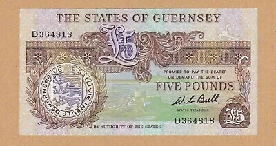 STATES OF GUERNSEY £5 FIVE POUND BANKNOTE BULL - ND 1980 - P49a - EF+