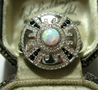 Vintage Style Art Deco Sterling SILVER Topaz Gem Gilson Fire Opal RING Size 7 O
