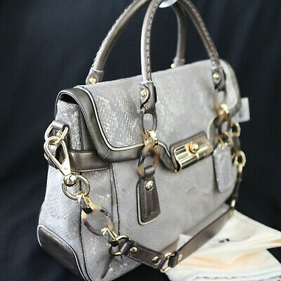 NWT COACH KRISTIN Bronze Emb Python Leather Carryall Tote Shoulder Bag NEW $698
