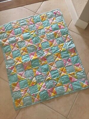 """NEW aqua and pink , baby quilt, handmade,, 32 x 39"""""""