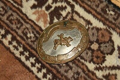 Vintage RODEO BELT BUCKLE Western Cowboy Bull Riding RARE OLD RODEO 4 x 3