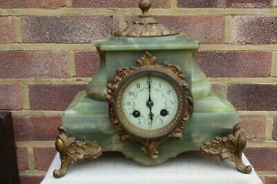 C 1890 Art Nouveau Marble / Alabaster French Twin Train Mantle Clock Striking.