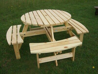 Cool 6 8 Seater Wooden Pub Seat Bench Round Picnic Table Pabps2019 Chair Design Images Pabps2019Com