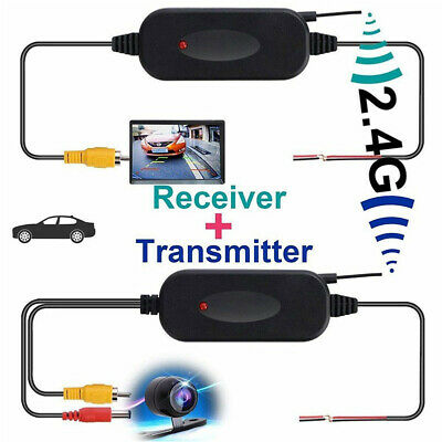 2.4G Wireless Video Transmitter & Receiver for Car Rear Backup View Camera Black
