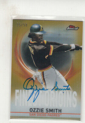 2019 Topps Finest Ozzie Smith Gold Refractor  Finest Origins Autograph Card 25/5