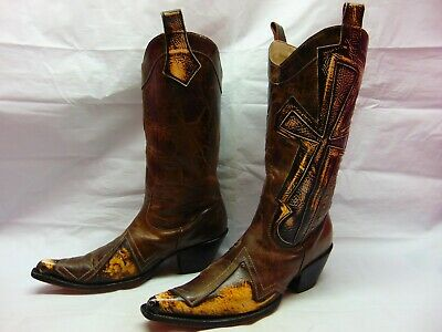 82767adc611 STETSON WESTERN COWBOY Boots Men 11 D Distressed Leather Brown ...