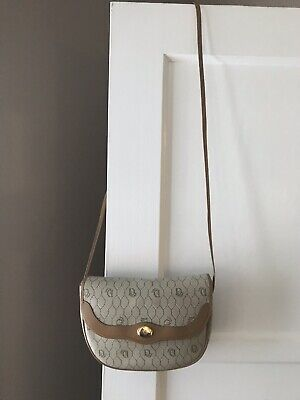 452bf74cec CHRISTIAN DIOR Vintage Taupe Canvas and Leather Trim Shoulder Crossbody Logo  Bag