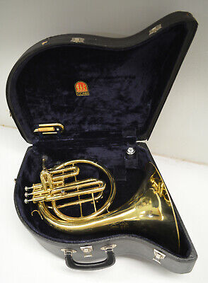 CG CONN 14E MELLOPHONE, KEY OF F AND Eb, ORIGINAL CONN MOUTHPIECE & CASE