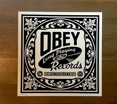 Shepard Fairey Obey Giant OBEY RECORDS Signed Numbered Screen Print Banksy