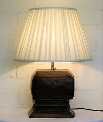 A Vintage Indonesian Ethnic Wooden Table Lamp Hand Carved Architectural Salvage
