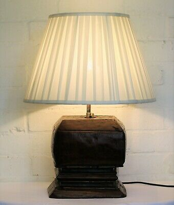 Vintage Table Lamp Indonesian Ethnic Wooden Hand Carved Architectural Salvage