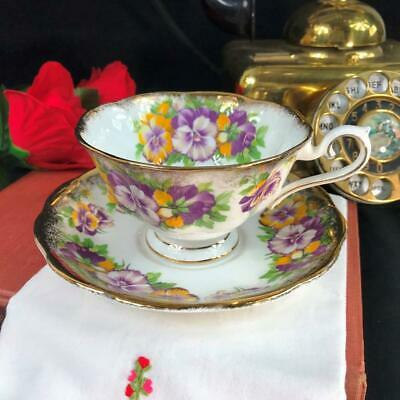 Vintage Royal Albert Bone China Heavy Gold Pansy Cup and Saucer Set