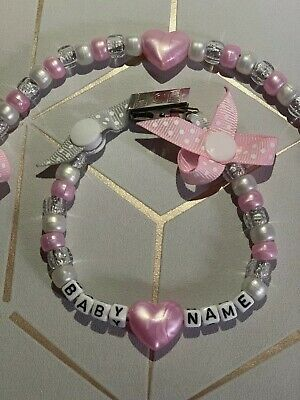 Baby Pink Heart Dummy Clip 🎀 can Be Personalised 💘Any Name 💘