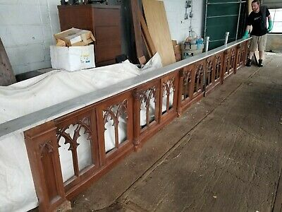 Antique 20' long church carved oak railing marble top