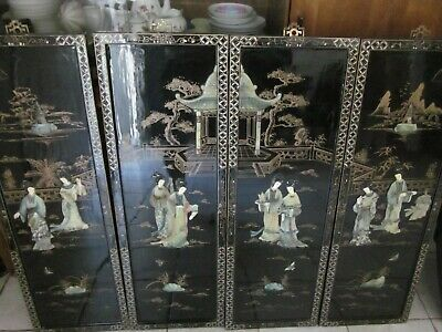 Chinese Vintage 4 panel hanging room dividers-Black Lacquer w/ stone inlay