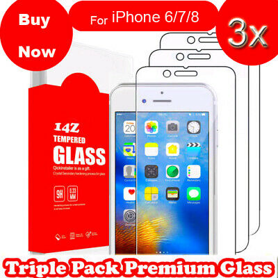 3X Screen Protector For Apple iPhone 6S & 6 - 100% Genuine Tempered Glass