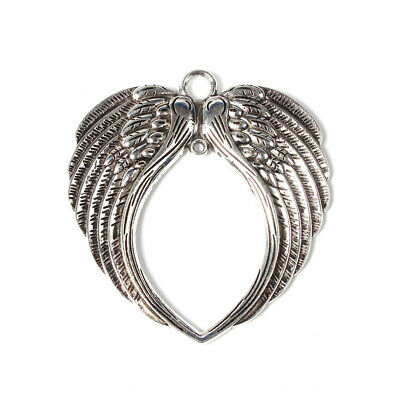 50PCS Tibetan Style Wing Pendants Charms Jewelry Making Antique Silver 74x69mm