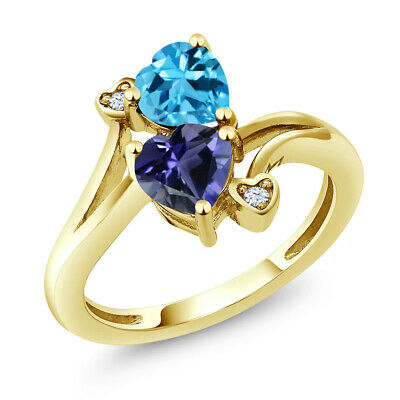 1.56 Ct Heart Shape Blue Iolite Swiss Blue Topaz 10K Yellow Gold Ring