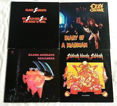 Black Sabbath & Ozzy Osbourne Heavy Metal LP Albums Lot of 4 Paranoid Bloody ++
