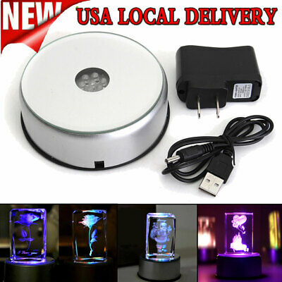 Colored 7LED 3D Crystal Trophy Laser Rotating Electric Light Stand Base Display