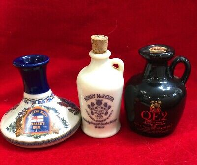 3 Old pottery whiskey jugs vintage miniature liquor bottles