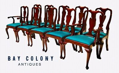 20Th C Set Of 10 Henkel Harris Queen Anne Antique Style Mahogany Dining Chairs