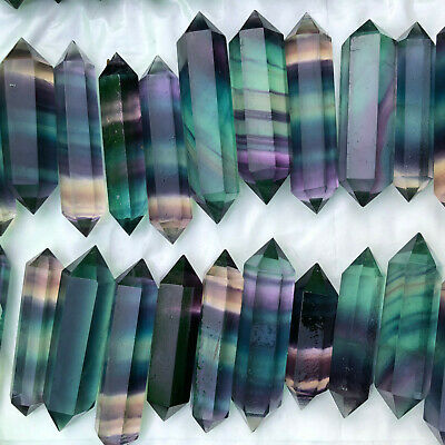 10PCS-Natural Fluorite Crystal Quartz Magic Wand Obelisk Point Reiki Healing