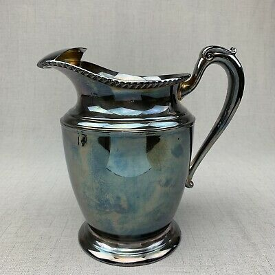 "Vintage Crescent Silver Plate Footed Water Pitcher Ice Lip 8"" Patina Mid Century"