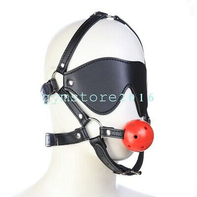 Sexy Open Mouth Gag Ball Blinder  Head Harness Strap Eye Mask Restraint Roleplay