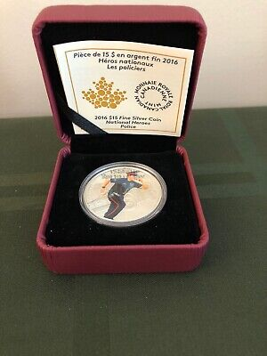 Canada 2016 $15 National Heroes: Police, 99.99% Pure Silver Color Proof Coin