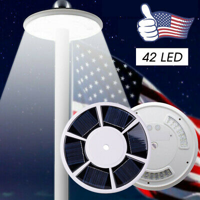 Night Outdoor Downlight 42 LED Solar Flag Pole Lights Waterproof Flagpole Lamp