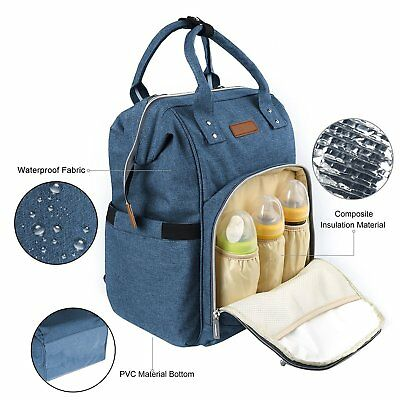 Backpack Bag Nappy and Bottles Large Capacity Isotherm Waterproof Changing Blue