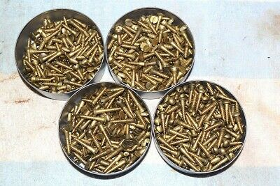 GENERIC SOLID BRASS SLOTTED WOOD SCREW #8 X 3/4 & 1 inch 4 lbs ROUND FLAT & OVAL