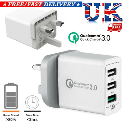 NEW 3 Port Fast Qualcomm Quick Charge QC 3.0 USB Hub Wall Charger Adapter UK