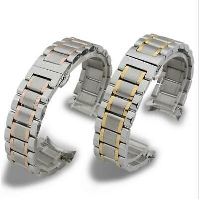 Curved Screw Polished Stainless Steel Bracelet Replacement Watch Band Strap