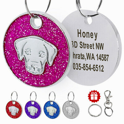 Personalized Dog ID Tags Glitter Round Tag Engraved Custom Labrador Head for Pet