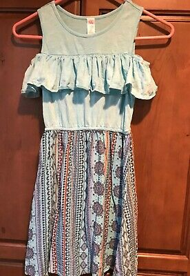 Justice Girls Dress Cold Shoulder Blue Size 10 Justice Free Shipping EUC