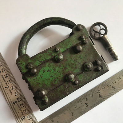 An old antique Iron padlock lock with key MOST RARE PRIMITIVE SHAPED COLLECTIBLE