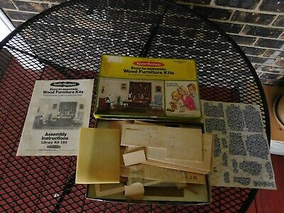 Vintage 1976 Realife Miniatures Doll House Wood Furniture Kit Library Set