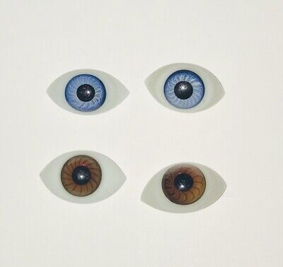 Pair of Antique French/German Blown Glass Paper Weight Doll Eyes in BLUE 28mm