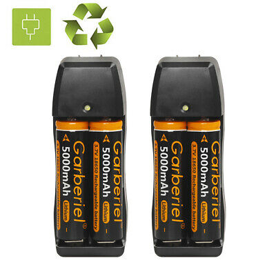 Lot Garberiel 5000mAh 18650 Rechargeable Battery 3.7V Li-ion Batteries Charger