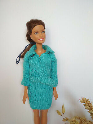 Free shipping! Knitted handmade  blue jacket with skirt, fashion doll dress