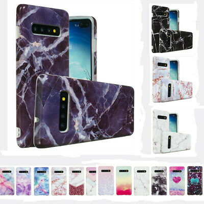 Case For Samsung Galaxy S10 Plus S10e Marble Granite Shockproof Silicone Cover