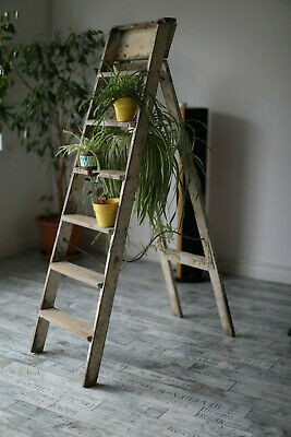 Vintage Wood White painted Fruit Picking / Painting Ladder Great Shop Display /
