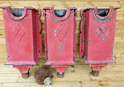 3 Salvaged Very Large Decorative Victorian Cast Iron Gutter Rain Hoppers