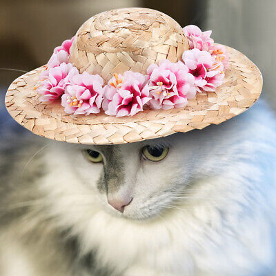 Funny Straw Sombrero Flower Hat Pet Dog Cat Party Collar Costume Accessory