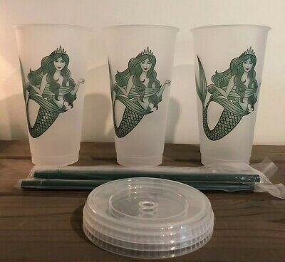 NEW LOT Of 3 Starbucks Mermaid Siren Frosted Reusable Cold Cup 2019